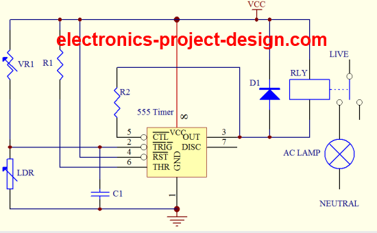 Basic Electronic Project LDR Circuit Using 555 Timer IC