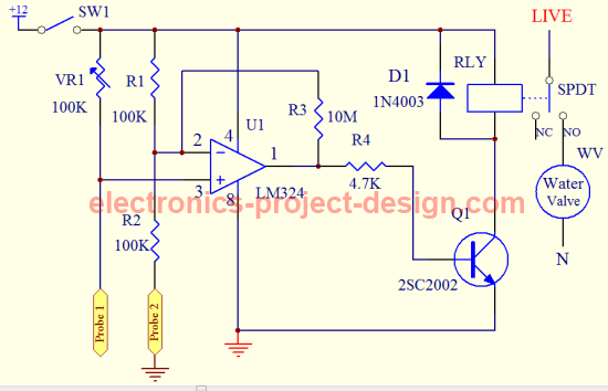 garden watering circuit schematic  fine tune this circuit if necessary for  best results