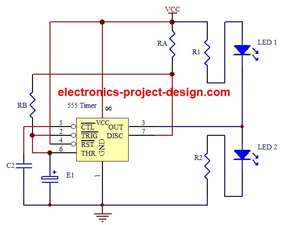 led flasher project using 555 timer ic rh electronics project design com