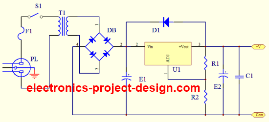 variable dc power supply using lm317 regulator