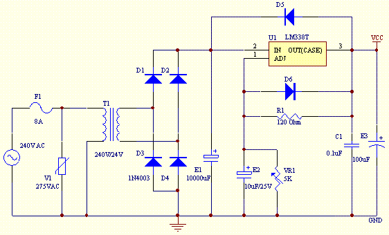 Power Supply Circuit 2-25V DC